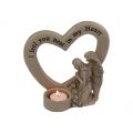 Stone Angel on Memorial Message Heart Candle Holder
