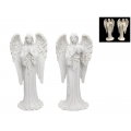 White Memorial Angel Praying/Holding Heart