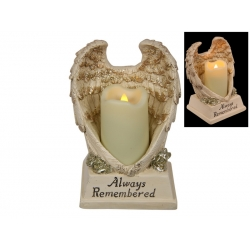 Angel Wings Memorial with LED Candle