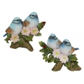Blue Birds on Tree Branch & Flowers