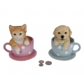 Cat/Dog in Teacup Money Box