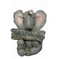 "Elephant with ""Welcome"" Sign"
