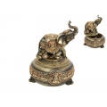 Gold Plated Elephant Box & Incense Burner