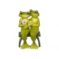 Green Frog Couple on Bench
