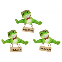 Frog with Hanging Sign