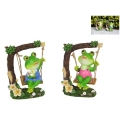 Boy/Girl Frog on Floral Garden Swing