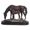 Mare & Foal Horses on Elegant Wooden Base