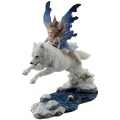 Fairy on Leaping White Wolf