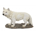 White Lone Wolf on Stone Base