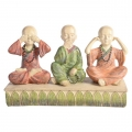 Three Wise Boy Monks on Floral Base