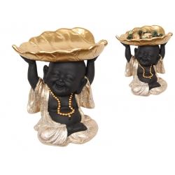 Happy Money Buddha in Gold Shimmer Robe with Leaf Bowl