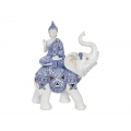 Blue Willow Rulai Buddha on Elephant
