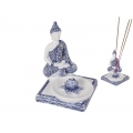 Blue Willow Rulai Buddha on Lotus Incense Burner