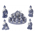 Blue Willow Buddhas & Incense Burner Temple Display Pack