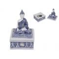 Blue Willow Rulai Buddha Trinket Box