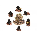 Happy Buddhas in Robe & Incense Burner Cave Display Pack