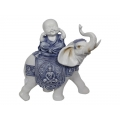 Blue Willow Happy Buddha on Elephant (Medium)