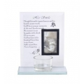 """His Smile"" Memorial Glass Plaque & Candle Holder"