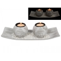 Stone Twin Buddha Candle Holders on Tray