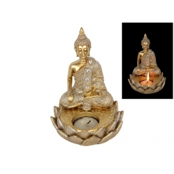 Gold Rulai Buddha on Lotus Candle Holder
