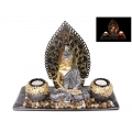 Classical Thai Buddha with Mirror Wall & Twin Candle Holders