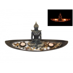 Meditating Buddha Twin Candle Holder Zen Garden