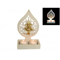 Gold Ornate Ganesh Twin Candle Holder