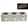 """White Hearts"" Three Candle Holder Gift Set"