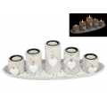 """White Hearts"" Five Candle Holder Gift Set"