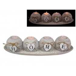 """""""HOME"""" White Hearts Four Candle Holder Gift Set"""