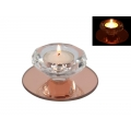 Rose Gold Crystal Glass Tealight Holder (Round)