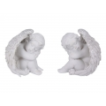 Cherub Resting in Wings with Silver Glitter