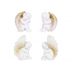 Cherub Resting in Wings with Gold Glitter