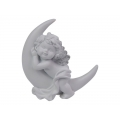 Cherub with Silver Wings on Moon