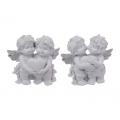 Cherub Twins with Silver Wings & Heart