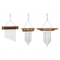 Bamboo Tribal Design Top & Silver Tubes Wind Chime