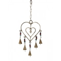 Brass Heart & Bells Wind Chime