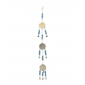 Brass Triple Flower of Life Bells & Beads Wind Chime