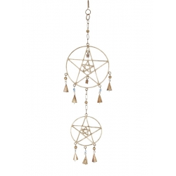 Brass Pentagram & Bells Wind Chime