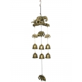 Brass Elephant Family & Bells Wind Chime