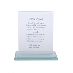 """His Smile"" Memorial Glass Plaque"