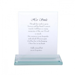 """Her Smile"" Memorial Glass Plaque"