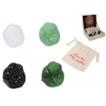 Ivory Glass Lucky Buddha in Gift Bag