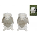 Stone Dog with Wings & Memorial Plaque