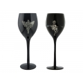Black Wine Glass with Pewter Skulls