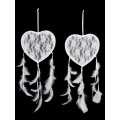 White Lace Heart & Floral Design Dream Catcher (Small)
