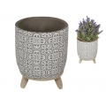 Cement Filigree Design Pot Holder with Legs
