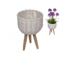 White Wicker Design Pot Holder with Legs