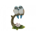 Blue Birds on Tree Branch with Flower