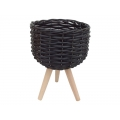 Black Wicker Design Pot Holder with Legs